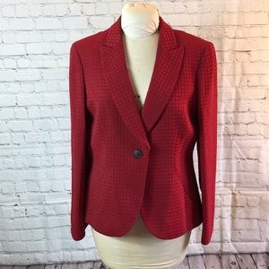 Jones NY red textured fitted blazer
